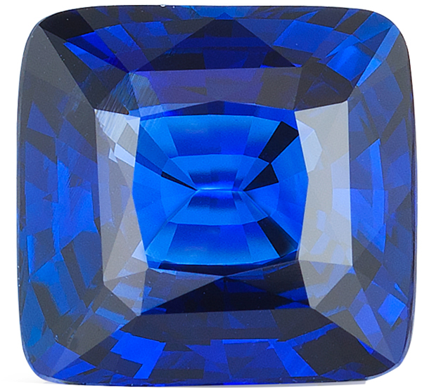 Top Stone Blue Ceylon Sapphire Modified Cushion Cut Gemstone in Royal Blue Color, 10.23mm,  6.06 Carats - With GRS Certificate