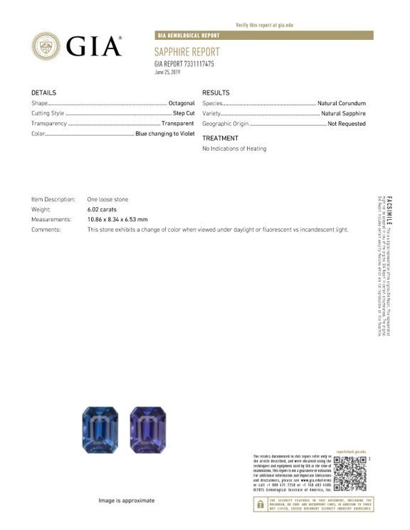 Top Top Purple Sapphire Gemstone, 6.02 carats, Emerald Cut, 10.86 x 8.34 x 6.53 mm, Low Low Price with GIA Cert