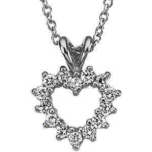 Traditional .2ct Diamond Heart Shaped Pendant in Platinum for SALE - FREE Chain