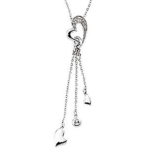 Trendy 14k White Gold and Diamond Heart Necklace With A Triple Strand Drop Charm Style - FREE Chain - .1ct