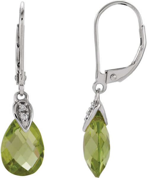 Trendy 14k White Gold Leverback Dangle Earrings With 3.8ct 10x7mm Peridot Briolette Gems - Diamond Accents