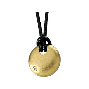Trendy 14k Yellow Gold Circle Medallion Pendant with a Single .03ct Diamond Accent - FREE Chain