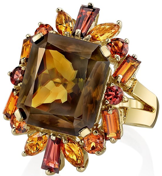 Trendy 14kt Yellow Gold 13.89ct Cushion Sphene Cocktail Ring With Fabulous Multi-Colored Tourmaline Gem Accents