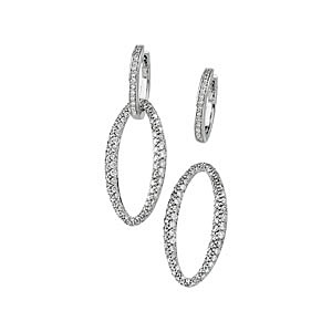 Trendy 2-in-One Hoop and Charm 1.75 ct Diamond Studded Earrings in 14k White Gold
