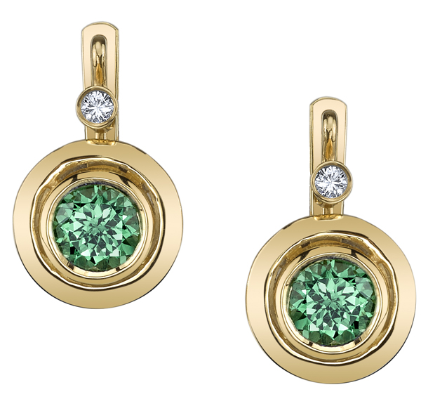 Trendy Bezel Set 6.1mm Round Tsavorite Garnet Earrings with Diamond Accents - 18kt Yellow Gold