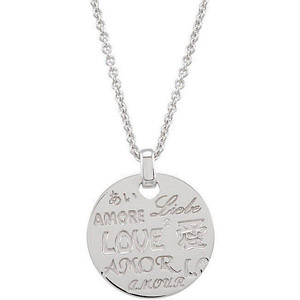 Trendy Coin Style .01ct Diamond Accented Sterling Silver Pendant with Inscriptions of