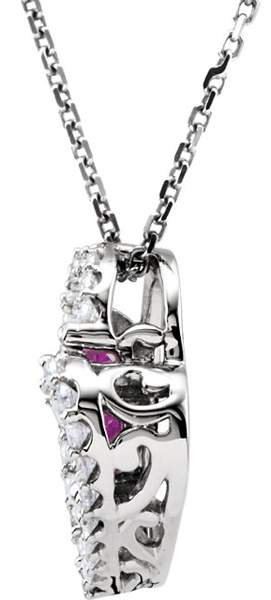 Trendy & Fun .8ct 5.5mm Pink Sapphire Diamond Open Heart Pendant in 14k White Gold - 5.50 mm Trillion Gem - FREE Chain