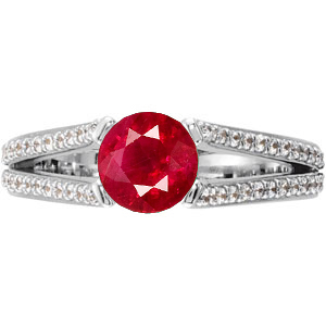 Trendy & Glamorous Split Shank 4-Prong Genuine Ruby 1 carat 6mm Gemstone Engagement Ring - Diamond Accents Along Bands