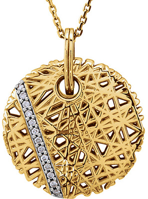 Trendy Nest Style Circle Pendant With an Line of .065 ct 1.80 mm Diamond Accents - .065 cts of Diamonds