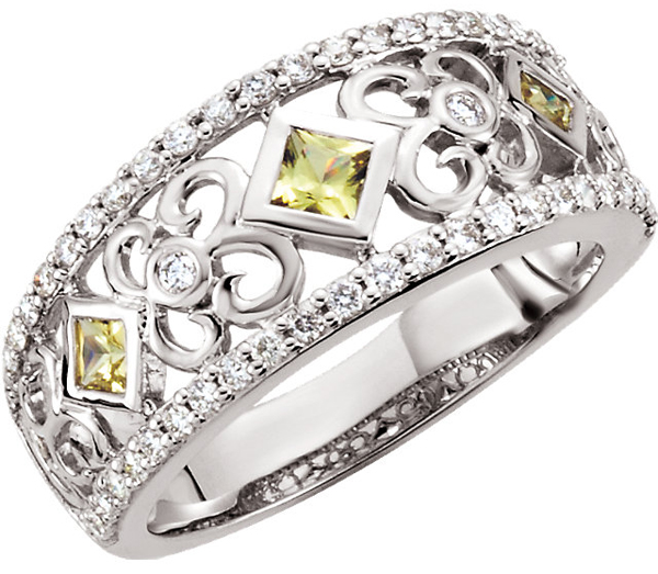 Trendy Right Hand Style Band Ring With Yellow Sapphire & Diamond Accents - 3/8ct Diamonds - SOLD