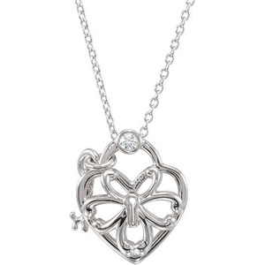 Trendy Sterling Silver Open Heart Key Hole and Key Charm Pendant with a .05ct Solitaire Diamond Accent - FREE Chain Included