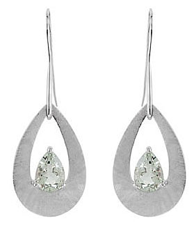 Trendy Sterling Silver Wire Back Dangle Earrings With 10x7mm Pear Shape Green Quartz Gemstones - SOLD