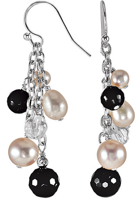 Trendy Sterling Silver Wire Back Dangle Earrings With Bead Cluster - Onyx, Crystal & Freshwater Cultured Pearl