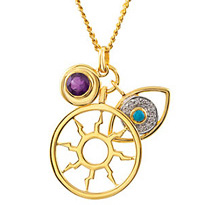 Trendy Triple Charm Pendant With Sun Charm, Round Amethyst and Turquoise and CZ Evil Eye Charm - Metal Type Options - FREE Chain With Pendant