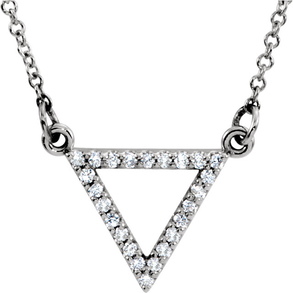 Trendy Unique Equilateral Open Triangle 1/8ct Diamond Studded Pendant in 14k Gold - 24 1mm Diamonds - FREE Chain