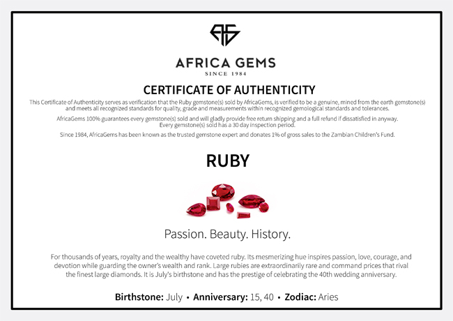 Cabochon Round Genuine Ruby in Grade AA