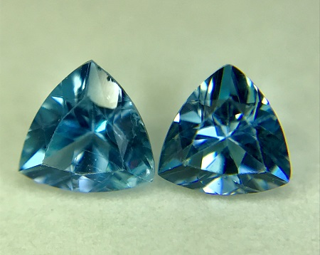 Trillion Cut Well Matched Aquamarine Gem Pair in Deep Blue Color, 4 mm, 0.38 ctw