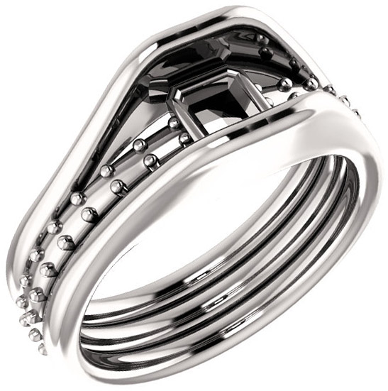 Triple Band Accented Bezel Set Ring Mounting for Asscher Shape Centergem Sized 5.00 mm to 7.00 mm - Customize Metal, Accents or Gem Type