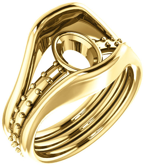 Triple Band Accented Bezel Set Ring Mounting for Oval Shape Centergem Sized 6.00 x 4.00 mm to 12.00 x 10.00 mm - Customize Metal, Accents or Gem Type