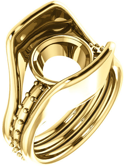 Triple Band Accented Bezel Set Ring Mounting for Round Shape Centergem Sized 5.20 mm to 12.00 mm - Customize Metal, Accents or Gem Type