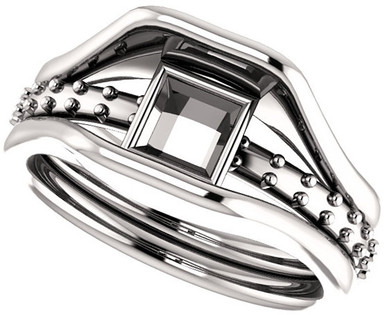 Triple Band Accented Bezel Set Ring Mounting for Square Shape Centergem Sized 5.00 mm to 10.00 mm - Customize Metal, Accents or Gem Type