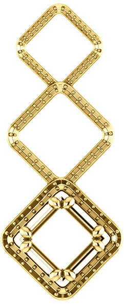 Triple Open Framed Accented Soiltaire Pendant Mounting for Square Gemstone Size 4mm to 10mm