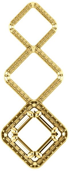 Triple Open Framed Accented Soiltaire Pendant Mounting for Square Centergem Sized 4.00 mm to 10.00 mm - Customize Metal, Accents or Gem Type