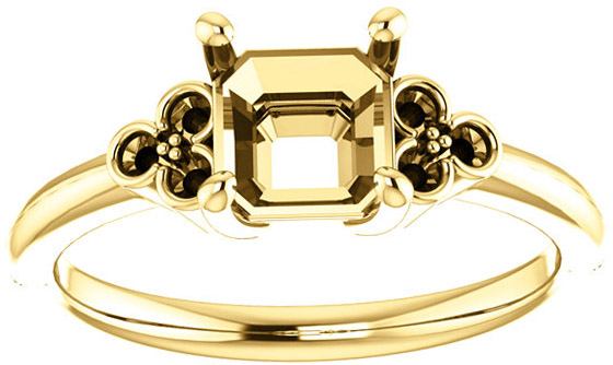 Triple Side Accent Ring Mounting For Asscher Shape Centergem Sized 5.00 mm to 7.00 mm - Customize Metal, Accents or Gem Type