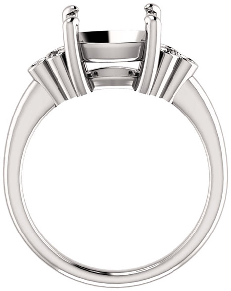 Triple Side Accent Ring Mounting For Cushion Shape Centergem Sized 5.00 mm to 10.00 mm - Customize Metal, Accents or Gem Type