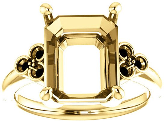 Triple Side Accent Ring Mounting For Emerald Shape Centergem Sized 6.00 x 4.00 mm to 11.00 x 9.00 mm - Customize Metal, Accents or Gem Type