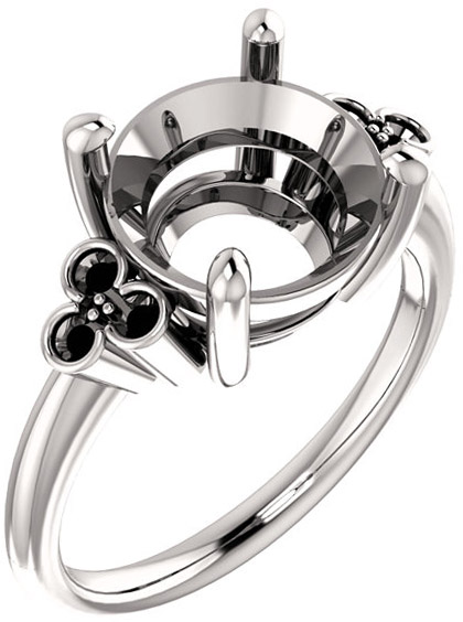 Triple Side Accent Ring Mounting For Round Gemstone Size 5.20mm to 10mm