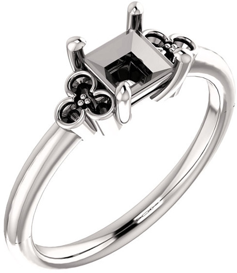 Triple Side Accent Ring Mounting For Square Gemstone Size 5mm to 10mm