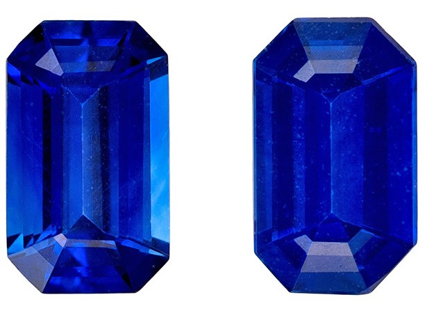 Truly Stunning  Blue Sapphire Genuine Gemstone, 0.58 carats, Emerald Shape, 5 x 3 mm Matching Pair