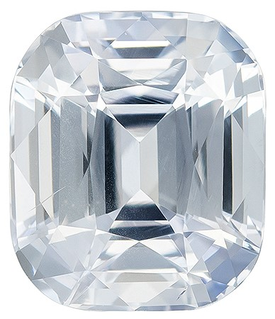 Truly Stunning  Cushion Cut Genuine White Sapphire Loose Gemstone, 3.08 carats, 8.2 x 7 mm , Super Lovely Gem