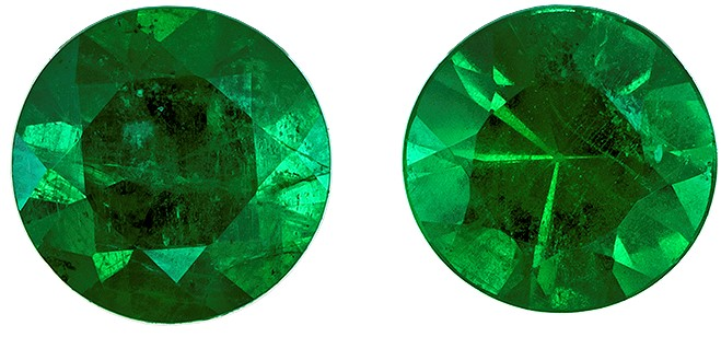 Deal on Gem  Green Emerald Genuine Gemstone, 0.41 carats, Round Shape, 4 mm Matching Pair