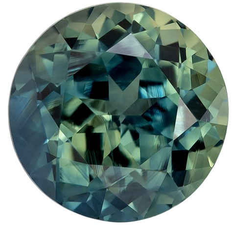 Low Price on Top Gem  Blue Green Sapphire Genuine Gemstone, 2.84 carats, Round Shape, 8 mm