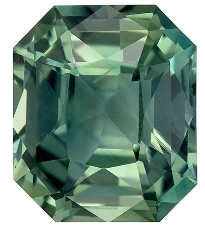 Truly Stunning  Octagon  Cut Faceted Blue Green Sapphire Gemstone, 1.31 carats, 6.4 x 5.5 mm , Full Brilliance