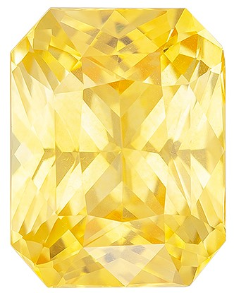 Truly Stunning  Radiant Cut Natural Yellow Sapphire Loose Gemstone, 3.66 carats, 9.6 x 7.4 mm , Very Bright Gem