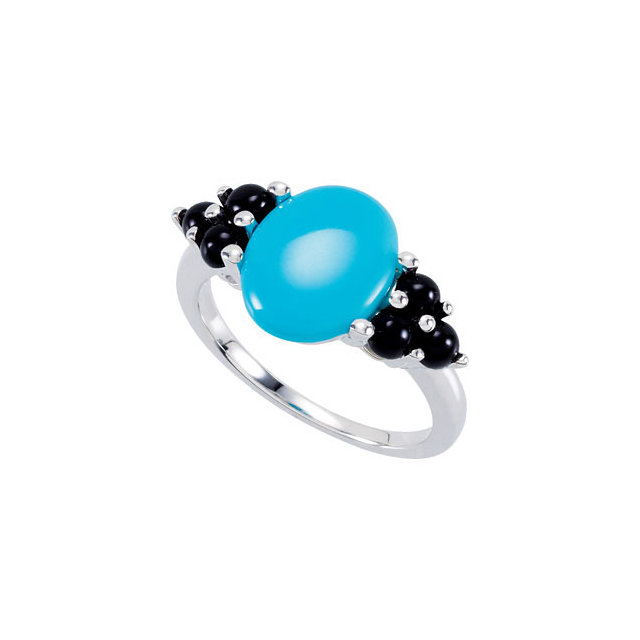 Best Turquoise & Oval Genuine Onyx Accented Ring