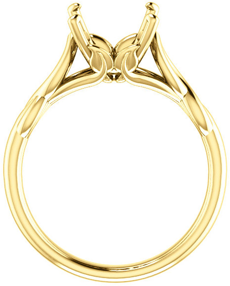Twisted Band Solitaire Ring Mounting for Oval Gemstone Size 5 x 3mm to 12 x 10mm