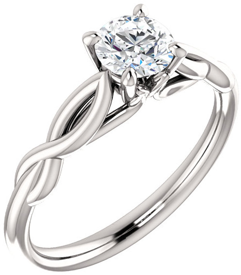 Twisted Band Solitaire Ring Mounting for Round Shape Centergem Sized 4.10 mm to 12.00 mm - Customize Metal, Accents or Gem Type