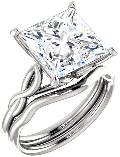Twisted Band Solitaire Ring Mounting for Square Gemstone Size 4mm to 10mm