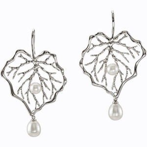 Two in One! - Leafy Shadow Sterling Silver Earrings with 7.5-10mm Pearl Charm for SALE - SOLD