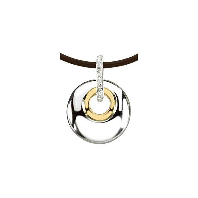 Two-Tone Round Genuine Diamond Circle Necklace
