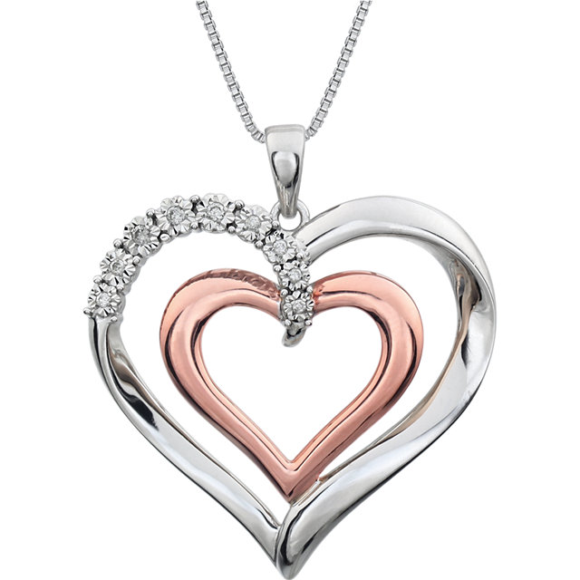 Gorgeous 14 Karat Rose Gold Gold-Plated Sterling Silver .06 Carat Total Weight Diamond Heart 18