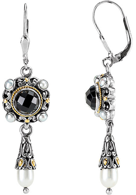 Two Tone Sterling Silver & 18k Yellow Gold Filigree Design Fashion Earrings With Onyx & Pearl - Lever back Closure - SOLD