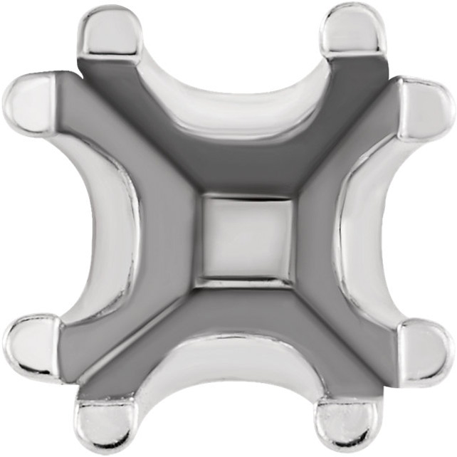 U-Prong Earrings Mounting for Square Shape Centergems Sized 3.00 mm to 8.00 mm - Customize Metal or Gem Type