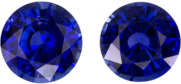 Ultimate for Studs Pair of Blue Sapphire in Round Cut, Vivid Rich Blue, 7.0 mm, 2.82 carats