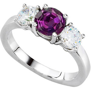 Ultimate in 3-Stone Engagement Ring With Super GEM Round Real 1 carat Alexandrite Gem & 1ct tw Diamonds