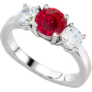 Serious GEM Large 1.50 carat Genuine 6.5mm Ruby & 1ct tw Diamond 3-Stone Engagement Ring - Low Price on Choice!